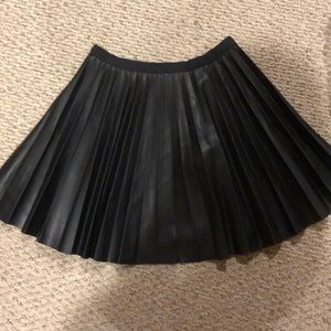 Accordion Leather Skirt